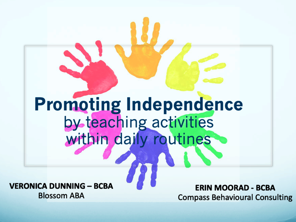 Promoting independence within daily routines - Self-Help and Chores (Approx. 1hr 40 minutes)