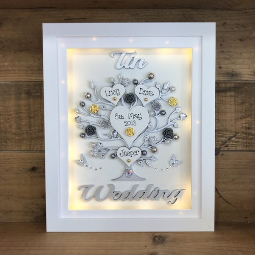 "LED "" Floral Tin wedding "" frame"