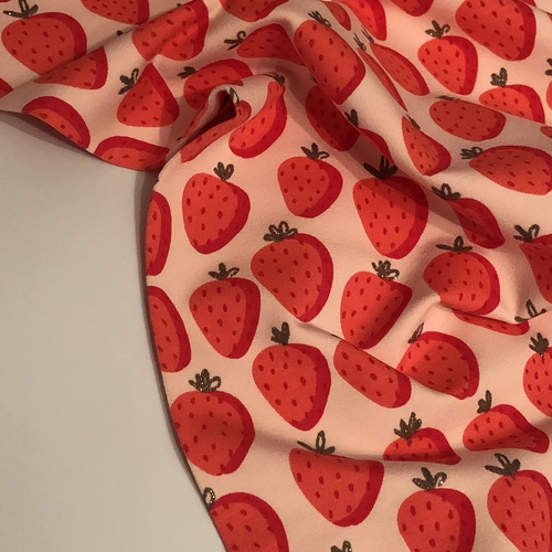Glitter Strawberries Pink Looped Back Jersey 1.11m Remnant