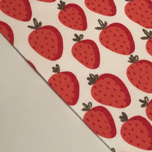 Glitter Strawberries White Looped Back Jersey