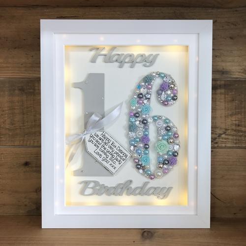 LED Happy 16 th birthday frame