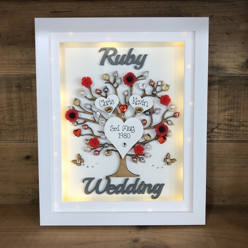 "LED "" Floral Ruby wedding "" frame"
