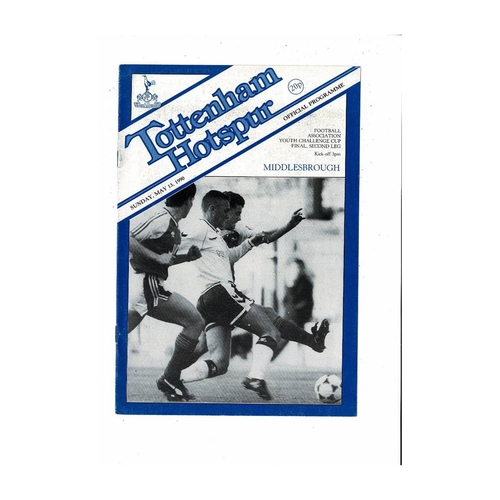1990 Tottenham Hotspur v Middlesbrough FA Youth Cup Final Football Programme