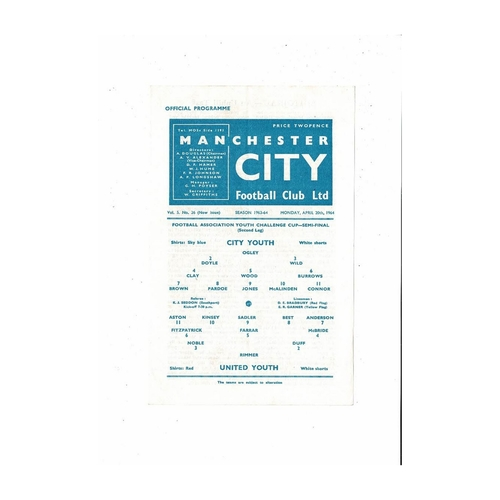 1963/64 Manchester City v Manchester United Youth Cup Semi Final Football Programme