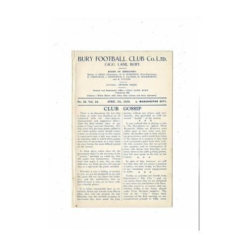 1938/39 Bury v Manchester City Football Programme. Ex bound volume