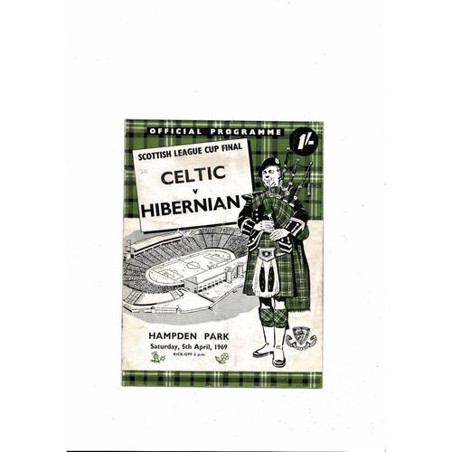 1969 Celtic v Hibernian Scottish League Cup Final Football Programme April