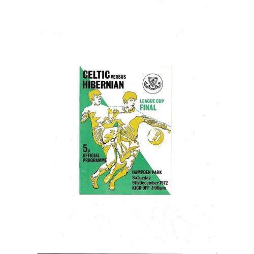 1972 Celtic v Hibernian Scottish League Cup Final Football Programme