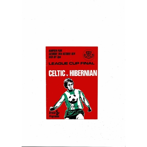 1974 Celtic v Hibernian Scottish League Cup Final Football Programme