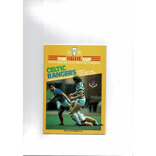 1986 Celtic v Rangers Scottish League Cup Final Football Programme