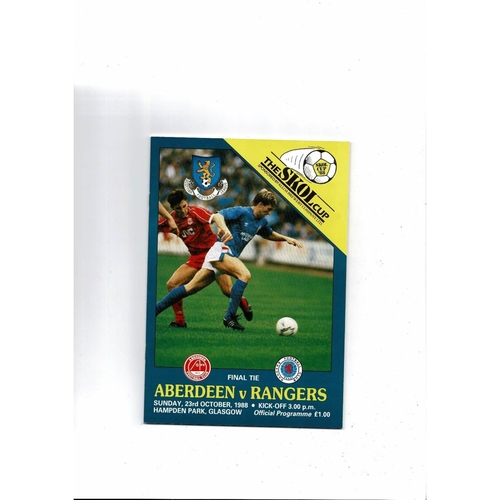 1988 Aberdeen v Rangers Scottish League Cup Final Football Programme