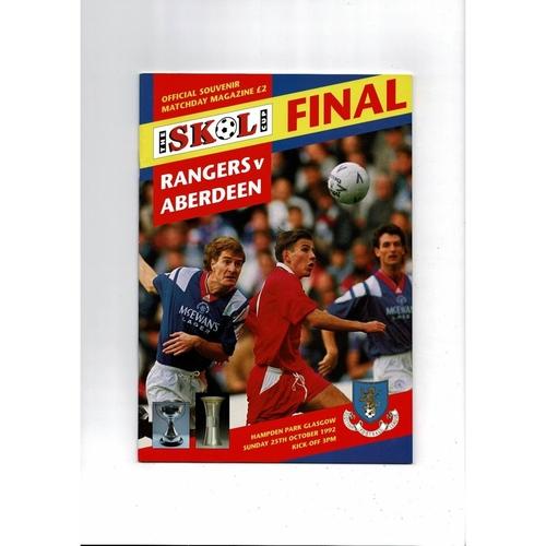 1992 Rangers v Aberdeen Scottish League Cup Final Football Programme
