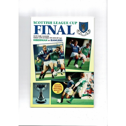 1993 Hibernian v Rangers Scottish League Cup Final Football Programme