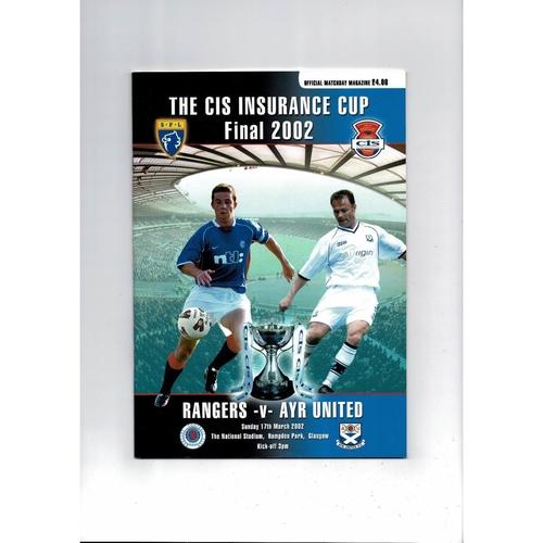 2002 Rangers v Ayr United Scottish League Cup Final Football Programme