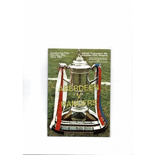 1982 Aberdeen v Rangers Scottish Cup Final Football Programme