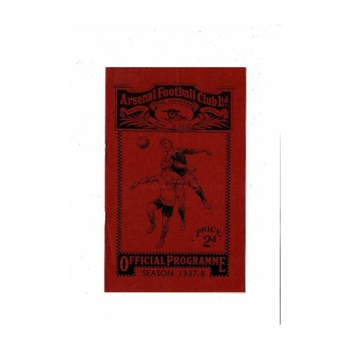 1937/38 Arsenal v Manchester City Football Programme