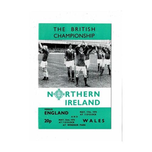 1975 Northern Ireland v England & Wales Football Programme