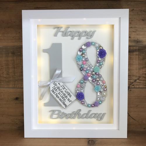 LED Happy 18 th birthday frame