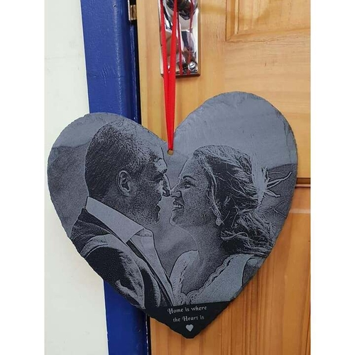 Heart slate engraved with your photograph