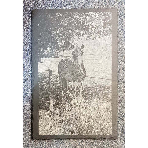 Slate engraved with photograph
