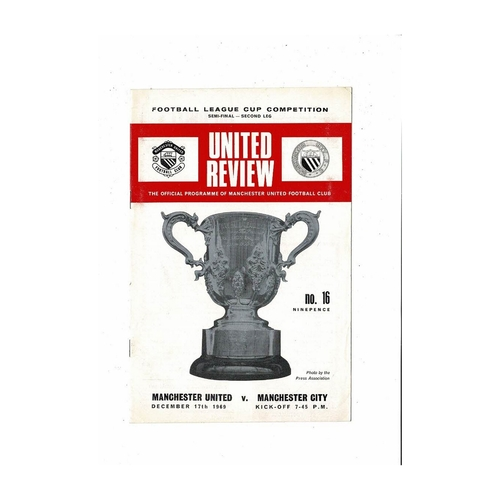 1969/70 Manchester United v Manchester City League Cup Semi Final Football Programme
