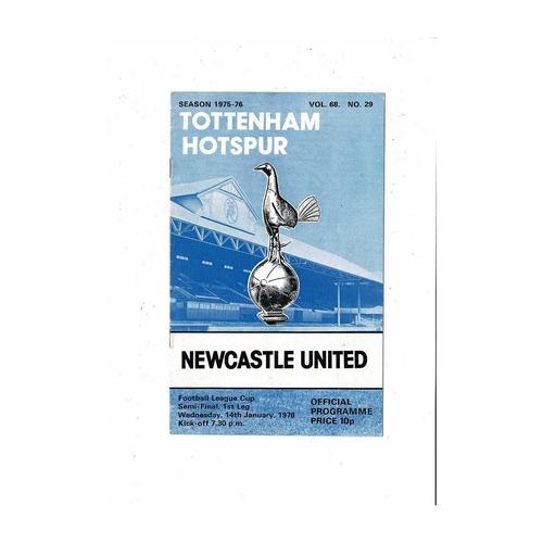 1975/76 Tottenham Hotspur v Newcastle United League Cup Semi Final Football Programme