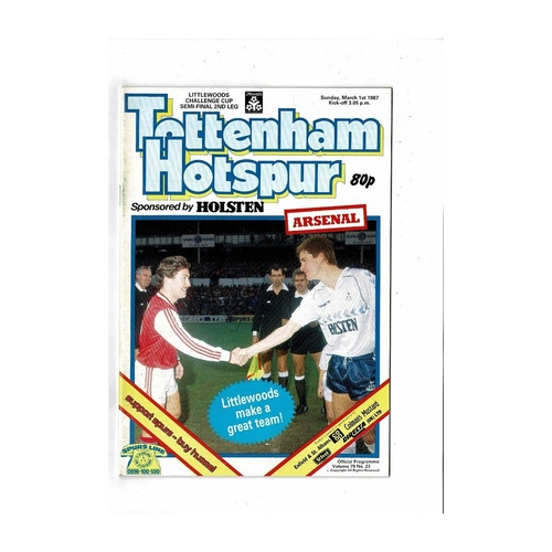 1986/87 Tottenham Hotspur v Arsenal League Cup Semi Final Football Programme + Team Sheet