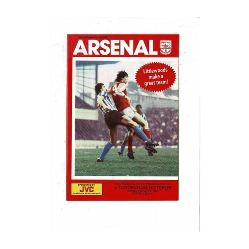1986/87 Arsenal v Tottenham Hotspur League Cup Semi Final Football Programme