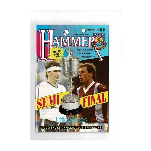 1988/89 West Ham United v Luton Town League Cup Semi Final Football Programme