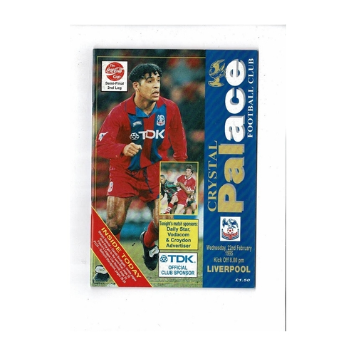 1994/95 Crystal Palace v Liverpool League Cup Semi Final Football Programme