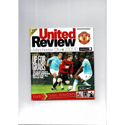 2009/10 Manchester United v Manchester City League Cup Semi Final Football Programme