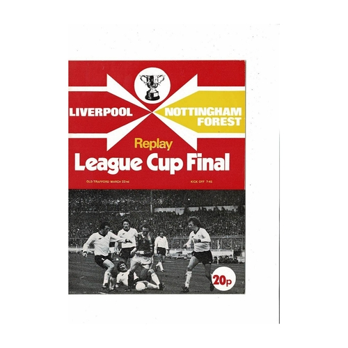 1978 Nottingham Forest v Liverpool League Cup Final Replay Football Programme