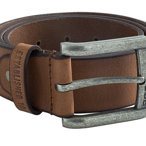 Brown Leather Belt with Embossed Distressed Effect Metal Buckle - D+ZA