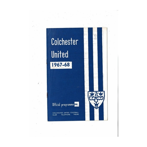 1967/68 Colchester United v Oxford United Football Programme March