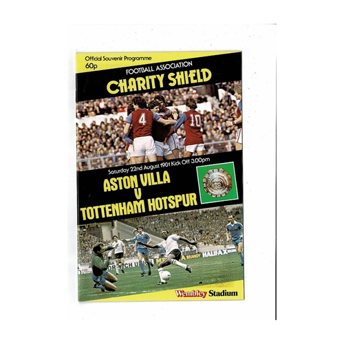 1981 Aston Villa v Tottenham Hotspur Charity Shield Football Programme