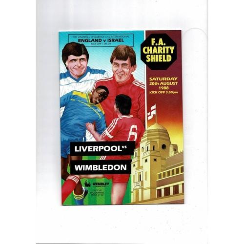 1988 Liverpool v Wimbledon Charity Shield Football Programme