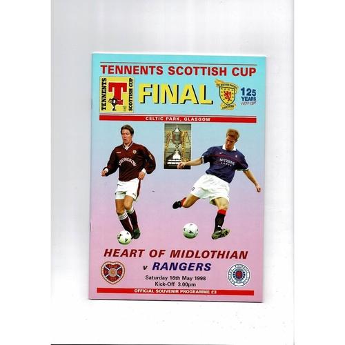 1998 Hearts v Rangers Scottish Cup Final Football Programme