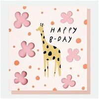 Giraffe Cut Out BIrthday Card