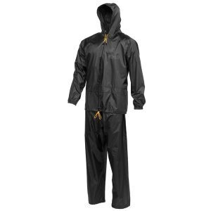 Black Two-Piece Waterproof Rainsuit - JCB Workwear - D+AA (XL)