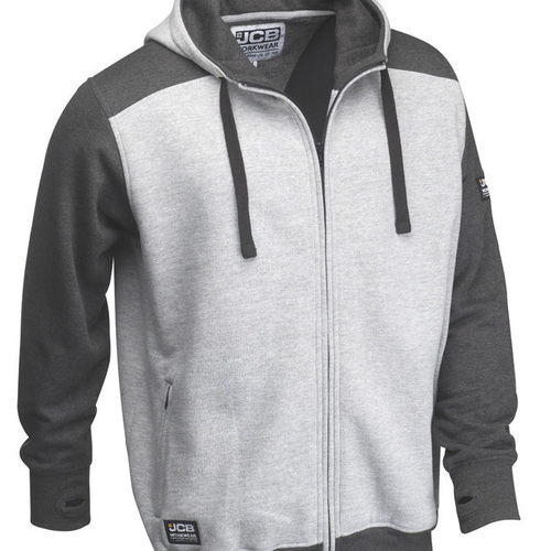 Two-Tone Grey Zipped Hoodie - JCB Workwear - D+IQ