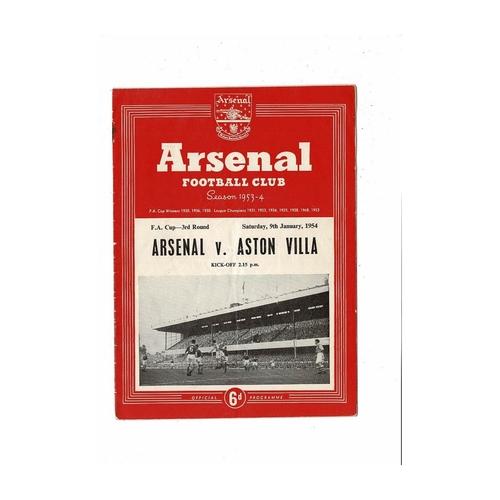 1953/54 Arsenal v Aston Villa FA Cup Football Programme