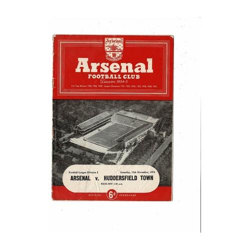 1954/55 Arsenal v Huddersfield Town Football Programme