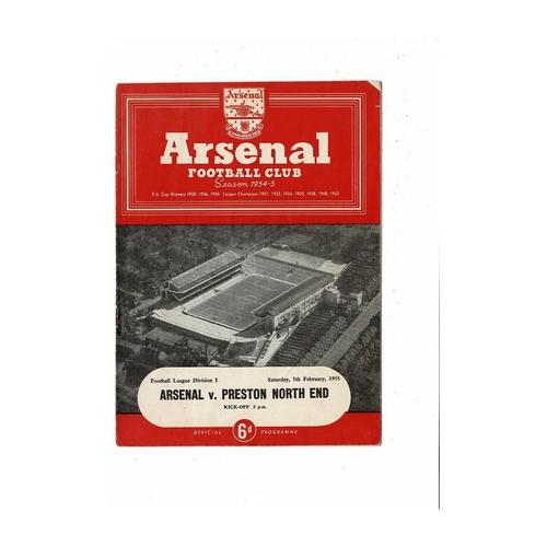 1954/55 Arsenal v Preston Football Programme