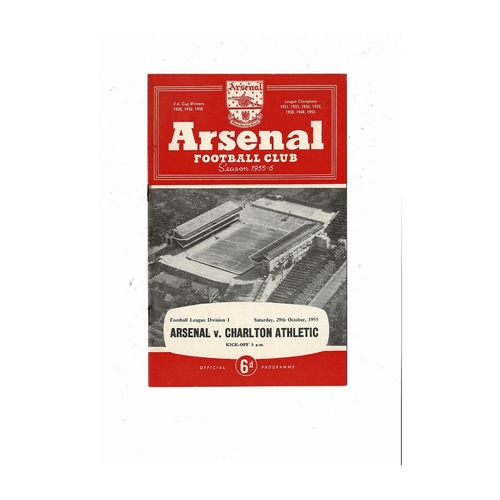 1955/56 Arsenal v Charlton Athletic Football Programme