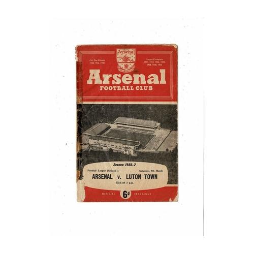 1956/57 Arsenal v Luton Town Football Programme