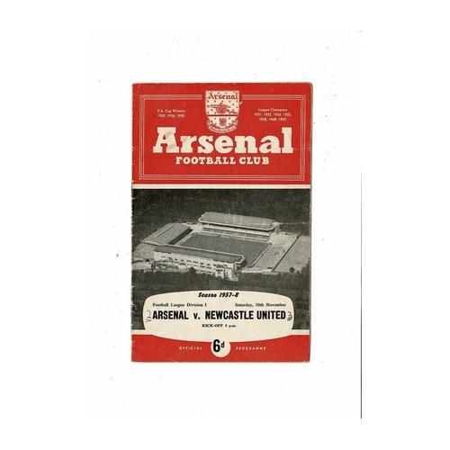 1957/58 Arsenal v Newcastle United Football Programme