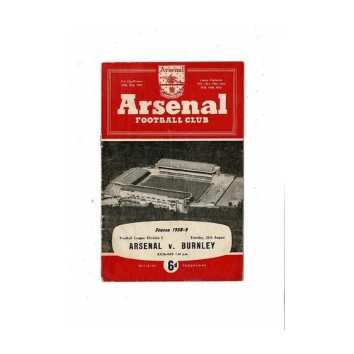 1958/59 Arsenal v Burnley Football Programme