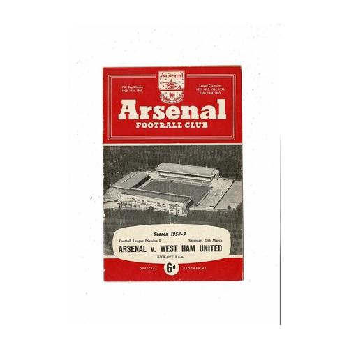 1958/59 Arsenal v West Ham United Football Programme
