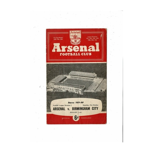 1959/60 Arsenal v Birmingham City Football Programme