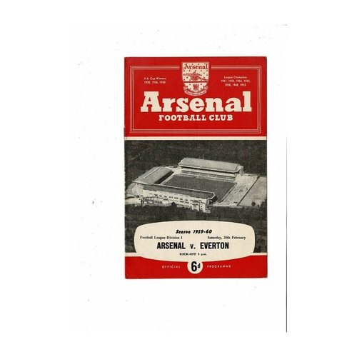 1959/60 Arsenal v Everton Football Programme