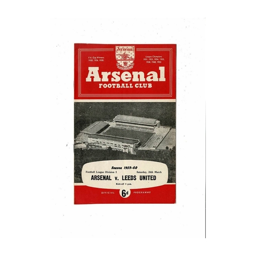 1959/60 Arsenal v Leeds United Football Programme